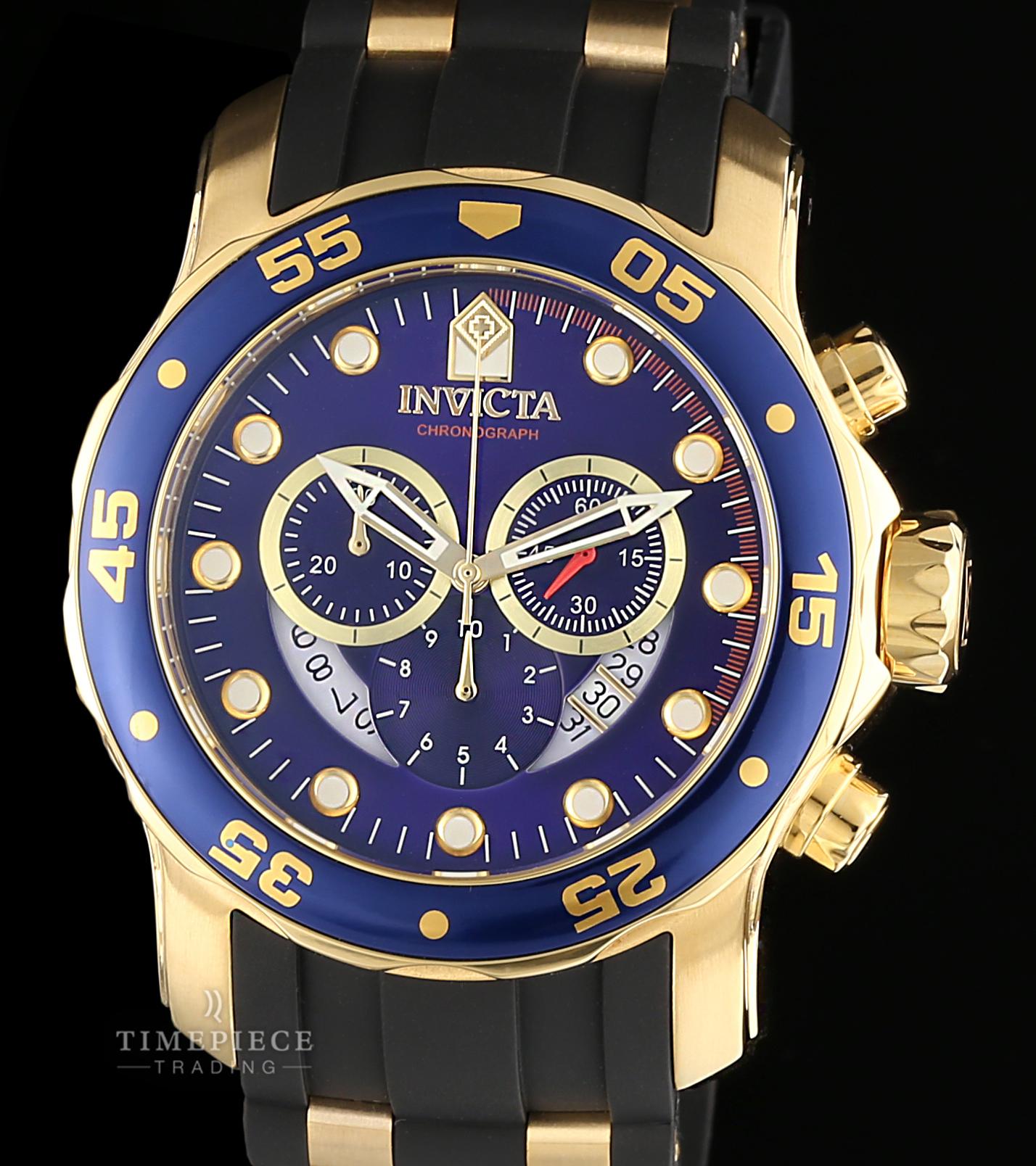Invicta Men's Pro Diver Chronograph Blue Dial Black Polyurethane Watch 6983